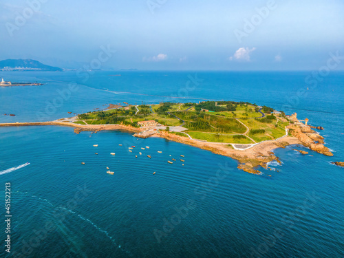 Aerial photography of island coastline