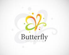 Butterfly Logo Creative Color Modern Gradient Elegant Icon Design Concept