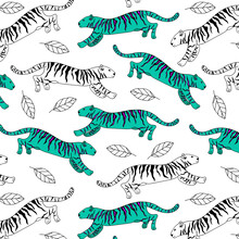 Vector Image Of A Turquoise Tiger With Purple Stripes. Seamless Pattern. Hand-drawn. Design Of Posters, Postcards, Invitations, Decor.