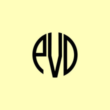 Creative Rounded Initial Letters EVD Logo.