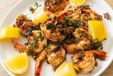 Fototapeta Kawa jest smaczna - jerk shrimps or grilled shrimps in Jamaica style