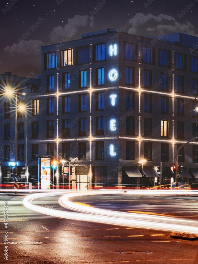 GOETTINGEN, GERMANY - Apr 22, 2021: Beautiful shot  of  Freigeist Hotel in the nighttime, Goettingen, Germany