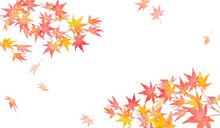 赤く色づいた秋の紅葉の枝と落葉。水彩イラスト。2隅装飾フレームデザイン。日本の伝統模様(ベクターデータ)