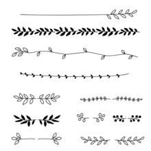 Hand Drawn Floral Dividers, Leaf Lines, Vector Illustration Set