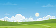 Spring green fields landscape with mountain, blue sky and clouds background,Panorama peaceful rural nature in springtime with green grass land. Cartoon vector illustration for spring and summer banner