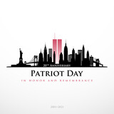 Patriot Day NYC skyline banner. Panorama view of New York before September 11, 2001. In honor and remembrance. 20 th Anniversary 2001-2021. Stock vector illustration.