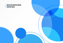 Abstract Bright Blue Circles Background With Circle Lines. Modern Simple Colorful Geometric Shape Template Design. Suit For Website, Poster, Banner, Presentation, Brochure, Cover, Flyer