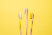 Bamboo Toothbrush On A Blue Background.