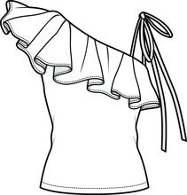 Women One Shoulder Sleeveless Ruffle Top Flat Sketch Vector Illustration