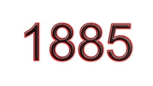 Red 1885 Number 3d Effect White Background