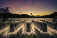 Water Flows Over Check Dam At Liyutan Reservoir In Miaoli, Taiwan