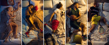 Top View Of Young Professional Sportsmen Sleeping At Bedroom In Sportswear With Equipment. Collage