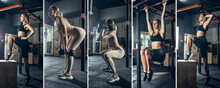 Collage About Fit Women, Coach Training At The Fitness Gym. Sport, Training, Athlete, Workout, Exercises Concept
