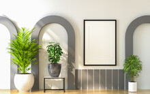 3D Mockup Photo Frame In Modern Interior Of Gallery Hall