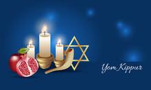 Realistic Yom Kippur Banner. Yom Kippur Symbols. Vector Illustration