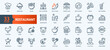 Restaurant cafe menu, food and drink - thin line web icon set. Outline icons collection. Simple vector illustration.