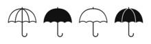 Umbrella Set Icon. Silhouette On A White Background.