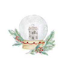 Watercolor Illustration Card With Snow Globe, Fir, Berries, Candy. Isolated On White Background. Hand Drawn Clipart. Perfect For Card, Postcard, Tags, Invitation, Printing, Wrapping.