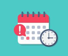 Calendar Deadline With Clock In A Flat Design