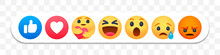 Facebook Reaction Emoji Faces, Thumb Up And Like