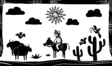 Northeastern Brazilian Cattle Breeders And Birds In The Desert. Woodcut-style Illustration