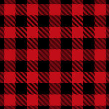 Abstract Geometric Tartan Check Seamless Pattern. Buffalo Check Plaid Gingham Checker Black, Red. Endless Texture With For Decorative Paper, Fabric. Vector Christmas Background.