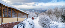 Mountain Railway Going To The Top Of Königstuhl Mountain In Winter, Heidelberg, Germany