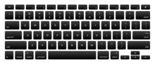 Computer Keyboard With Black Key Buttons. Computer Keyboard Black Buttons, Letters, Numbers And Symbols. Digital Template Of Keyboard With English Language