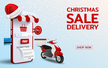 Online Shopping In Merry Christmas Theme With Santa Hat, Ready To Delivery By Motorbike 3d Perspective Vector Design. Trading Online By Credit Card, Fast, Safe And Provide Convenience Service.
