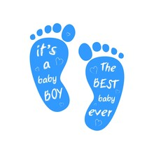 Baby Boy Arrival Card. Its Baby Shower Invitation Banner Template