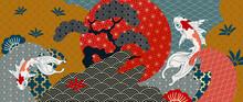 Luxury Oriental Style Background Vector. Japanese Oriental Line Art With Golden Texture. Wallpaper Design With Sakura Flower, Ocean Wave And Koi Carp Fish. Vector Illustration.
