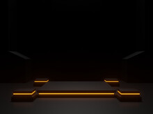 3D Black Scientific Stage With Golden Neon Lights