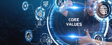 Business, Technology, Internet And Network Concept. Core Values Responsibility Ethics Goals Company Concept