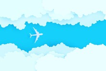 The Plane Flies Between White Clouds In The Blue Sky In Paper Cut Style. 3d Papercut Background With Top View Cloudy Sky. Vector Illustration Of Cloudscape Pastel Colors. Simple Weather Layered Banner