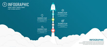 Rocket Launch Infographic With Vector Data Icon, 4 Step Options. Abstract Art Rocket And Paper Asterisk On Blue Background. Can Be Used For Planning Business Process Banner