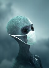 Alien Wearing A Face Mask, Illustration