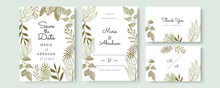 Green Gold Wedding Invitation, Floral Invite Thank You, Rsvp Modern Card Design In Hand Drawn Flower With Red Berry And Leaf Greenery Branches Decorative Vector Elegant Rustic Template