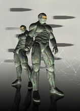 Soldiers In Military Combat Suits, Illustration