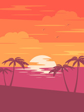 Sunset Tropical Beach With Palm Trees And Sea. Nature Landscape And Seascape.