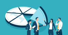 Market Share. Business Workers Discuss About Dividing The Profit - Coin. Business Concept Illustration