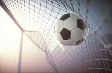 Football Flying Into Goal, Illustration