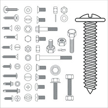 Screw Bolt And Nuts Big Set Outline Top And Side Isometric View Blueprint Scheme