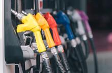 Yellow Red Blue Orange Color Fuel Gasoline Dispenser Background, Fuel Pumps At A Gas Station..