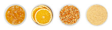 Orange Jam And Dried Oranges, In White Bowls. Marmalade, Dried Orange Slices, Chopped And Powdered Peel Of Oranges. Ingredients For Christmas Cooking And Decoration. Isolated, From Above, Over White.