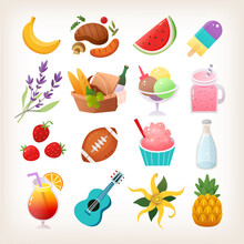 Set Of Colorful Summer Picnic Icons Ice Creams Fruit And Flowers. Items You Take To An Outdoors Party. Isolated Vector Stickers.