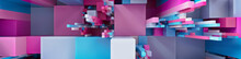 Multicolored 3D Block Background. Tech Wallpaper With Vibrant Pink And Blue Colors. 3D Render