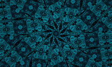 Illustration Abstract Kaleidoscopic Pattern In Jade Color Originated From Photograph Of Green Bamboo Leaves Designed For Tiles, Wallpaper, Textiles Or Scarves