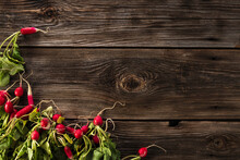 Freshly Picked Radish With Tops, Leaves, Harvesting Home Harvest Lies On Old Wooden Boards, Season, Farm, Place For Text, Top View, Flat-lay