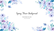 Soft Purple Green Floral Background With Watercolor