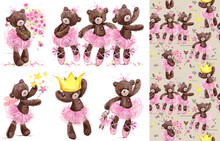 Cute Teddy Bears Watercolor Collection With Cute Pattern. Cartoon Ballerina.